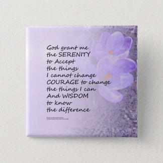 Crocus de prière de sérénité badge carré 5 cm