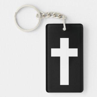 Croix blanche noire porte-clé rectangulaire en acrylique double face