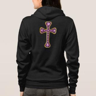 """Croix chrétienne avec des pierres de """"grenat"""" veste à capuche"""