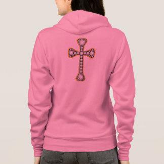 """Croix chrétienne avec des pierres """"de quartz rose"""" veste à capuche"""