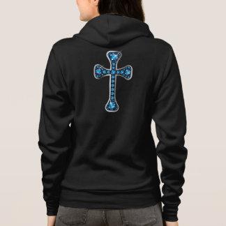 """Croix chrétienne avec les pierres """"bleu vert"""" veste à capuche"""