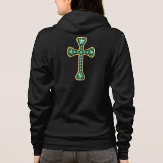 """Croix chrétienne avec les pierres """"vertes"""" veste à capuche"""
