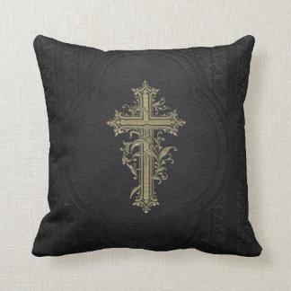 Croix chrétienne victorienne vintage fleurie oreillers