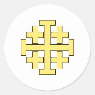 Croix de Jérusalem Sticker Rond