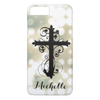 Croix de tourbillonnement chrétienne personnalisée coque iPhone 8 plus/7 plus