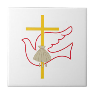 Croix et colombe de baptême petit carreau carré