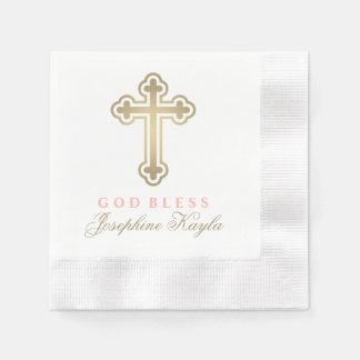 Croix faite sur commande d'or de la serviette | de serviettes jetables