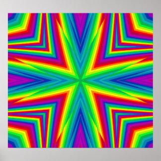 Croix géométrique psychédélique d'arc-en-ciel poster