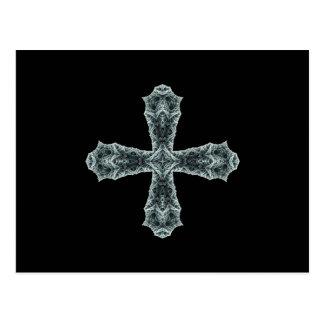 Croix gothique de fractale dans le gris carte postale