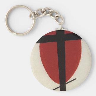 Croix noire sur un ovale rouge par Kazimir Porte-clés