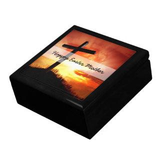 Croix religieuse de Pâques au coucher du soleil Boîte À Souvenirs