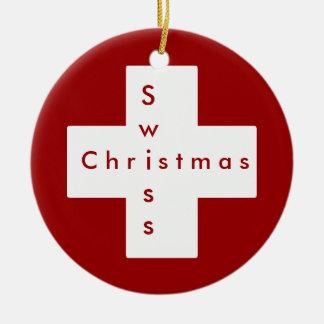Croix suisse ornement rond en céramique