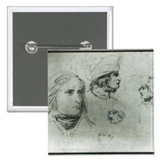 Croquis de Napoleon Bonaparte, 1797 Badge Carré 5 Cm