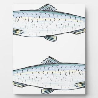 Croquis de poissons d'harengs plaque d'affichage