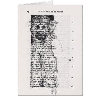 Croquis de singe sur la carte vintage de page de