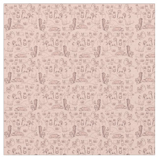 Croquis de tissu de coton rose de chats