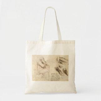 Croquis de vieil homme et d'eau par Leonardo da Tote Bag