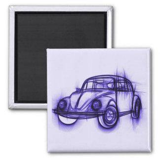 Croquis frais de voiture dans le pourpre magnet carré