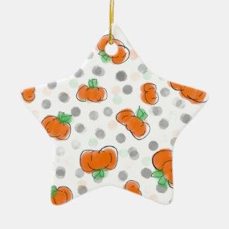 Croquis orange d'aquarelle de citrouille et de ornement étoile en céramique