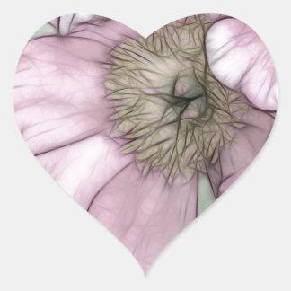Croquis rose de fleur de pivoine sticker cœur