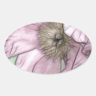 Croquis rose de fleur de pivoine sticker ovale