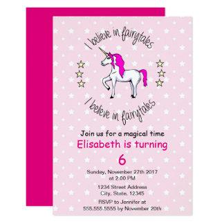 Croyez à l'anniversaire de fille de rose de carton d'invitation 8,89 cm x 12,70 cm