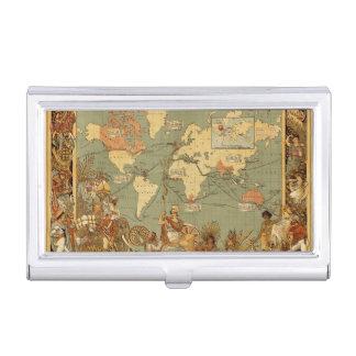 Cru 1886 d'antiquité de carte du monde étui pour cartes de visite