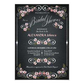 Cru chic de douche nuptiale florale de tableau carton d'invitation  12,7 cm x 17,78 cm