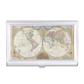 Cru d'antiquité de carte de voyage du monde étui pour cartes de visite