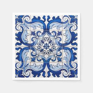 Cru d'Azulejo de Portugais Serviettes Jetables