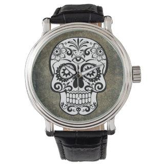 Cru de montre d'ardoise de crâne de sucre noir et montres