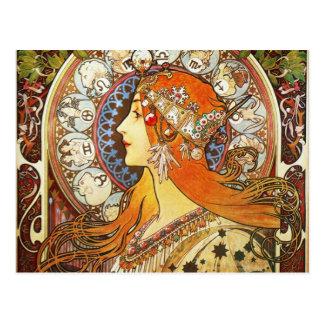 Cru de Nouveau d'art de zodiaque de plume de La Carte Postale