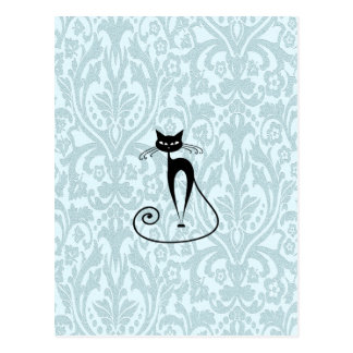 Cru élégant de damassé de chat noir carte postale