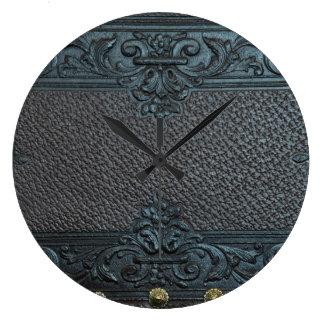cru en cuir pressé de meubles de sculpture floral grande horloge ronde