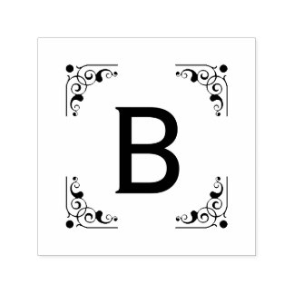 Cru initial audacieux de monogramme encadré tampon auto-encreur