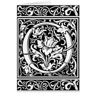 Cru médiéval Initialv de monogramme de la lettre O Carte