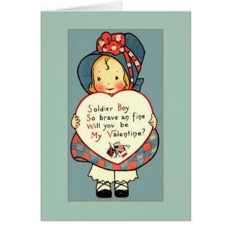 Cru mignon WWI Valentine saluant pour le soldat Carte