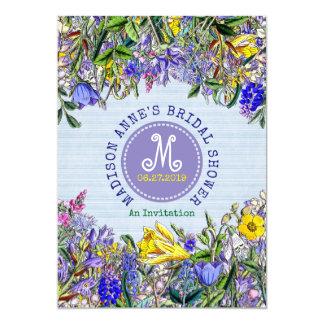 Cru nuptiale de monogramme de fleurs sauvages de carton d'invitation  12,7 cm x 17,78 cm