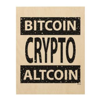 Crypto van Altcoin van Bitcoin Hout Afdruk