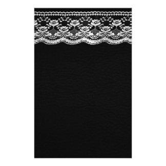 Cuir noir et blanc et dentelle papier à lettre customisé