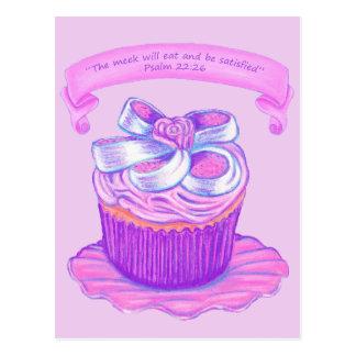 Cupcake~Meek rose mangent la carte postale