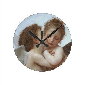 Cupidon et psyché comme enfants horloge ronde
