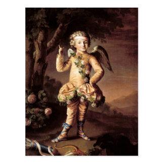 Cupidon vintage et carte postale de Valentine de