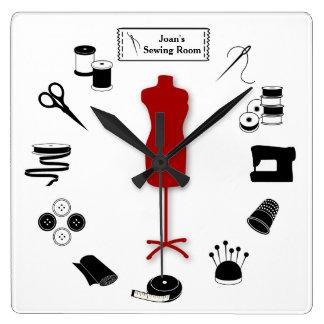 Customisez l'étiquette cousent juste horloge carrée