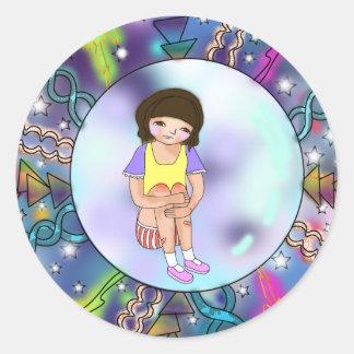 Cute Girl in Bubble Sticker Rond