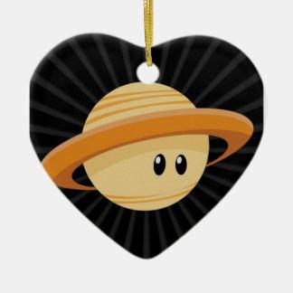 Cutie Saturn Ornement Cœur En Céramique