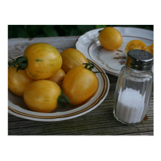 Cuvette de carte postale jaune du pays de tomates