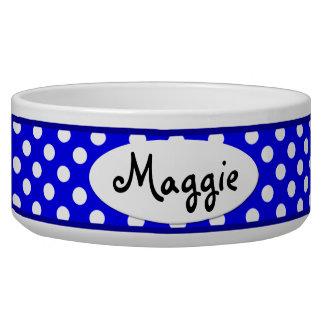Cuvette en céramique personnalisée bleue de chien écuelles pour chien