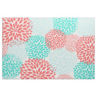 Dahlias turquoises de corail, impression florale tissu