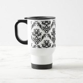 Damas, noir et blanc. Damask pattern Mug De Voyage